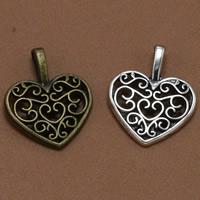 Zinklegierung Herz Anhänger, plattiert, keine, frei von Blei & Kadmium, 18x14mm, Bohrung:ca. 3-5mm, 100PCs/Tasche, verkauft von Tasche