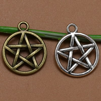 Zinklegierung Stern Anhänger, Pentagram, plattiert, keine, frei von Blei & Kadmium,  20x16mm, Bohrung:ca. 1.5mm, 100PCs/Tasche, verkauft von Tasche