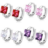 Messing Huggie Hoop Ohrringe, mit Österreichischer Kristall, platiniert, facettierte, keine, frei von Nickel, Blei & Kadmium, 6mm, verkauft von Paar
