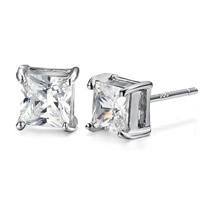 Österreichischer Kristall Ohrring, Messing, mit Österreichischer Kristall, platiniert, facettierte, frei von Nickel, Blei & Kadmium, 8x8mm, verkauft von Paar