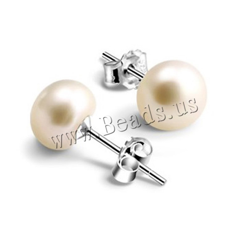 Freshwater Pearl Earrings Brass Freshwater Pearl platinum plated nickel lead & cadmium free 7-8mm Sold Pair