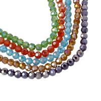 Runde Kristallperlen, Kristall, bunte Farbe plattiert, facettierte, mehrere Farben vorhanden, 6mm, Bohrung:ca. 1mm, Länge:ca. 17 ZollInch, 10SträngeStrang/Tasche, ca. 100PCs/Strang, verkauft von Tasche