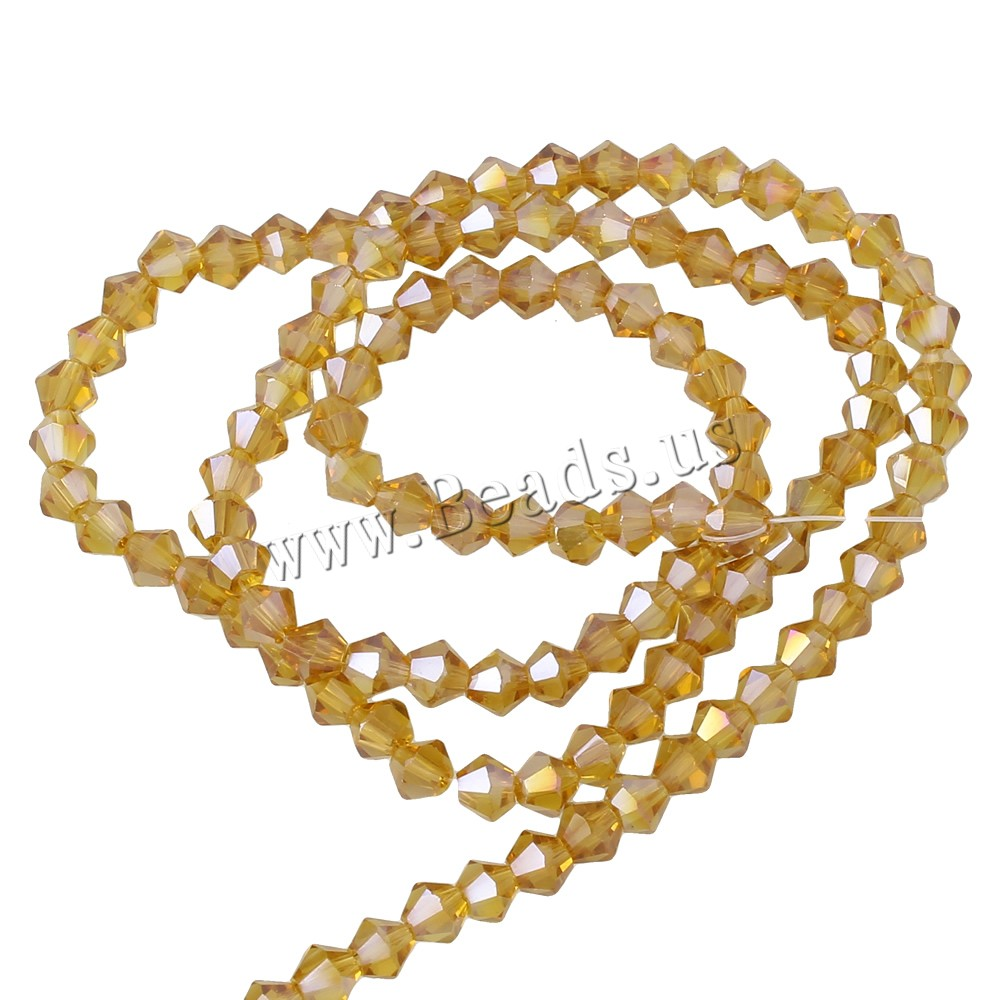 Buy Bicone Crystal Beads colorful plated faceted Lt Topaz 4mm Hole:Approx 1mm Length:Approx 17 Inch 10Strands/Bag Approx 115PCs/Strand Sold Bag
