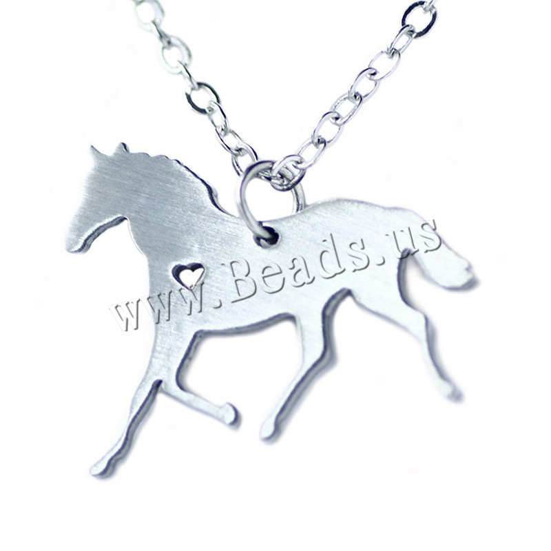 Buy Stainless Steel Jewelry Necklace 5cm extender chain Horse oval chain original color 21x26mm Sold Per Approx 20.5 Inch Strand