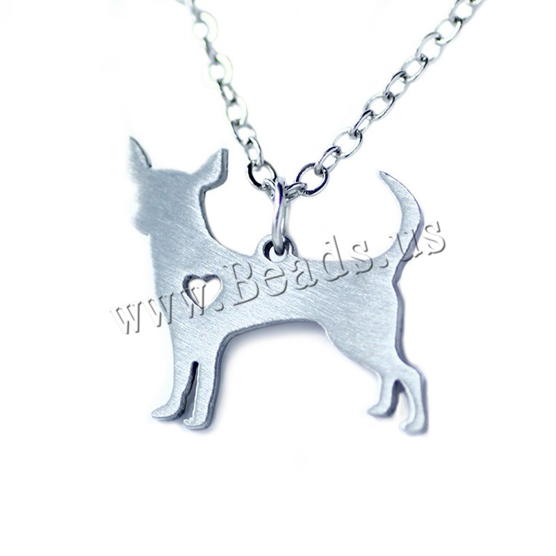 Buy Stainless Steel Jewelry Necklace 5cm extender chain Dog oval chain original color 26x22mm Sold Per Approx 20.5 Inch Strand