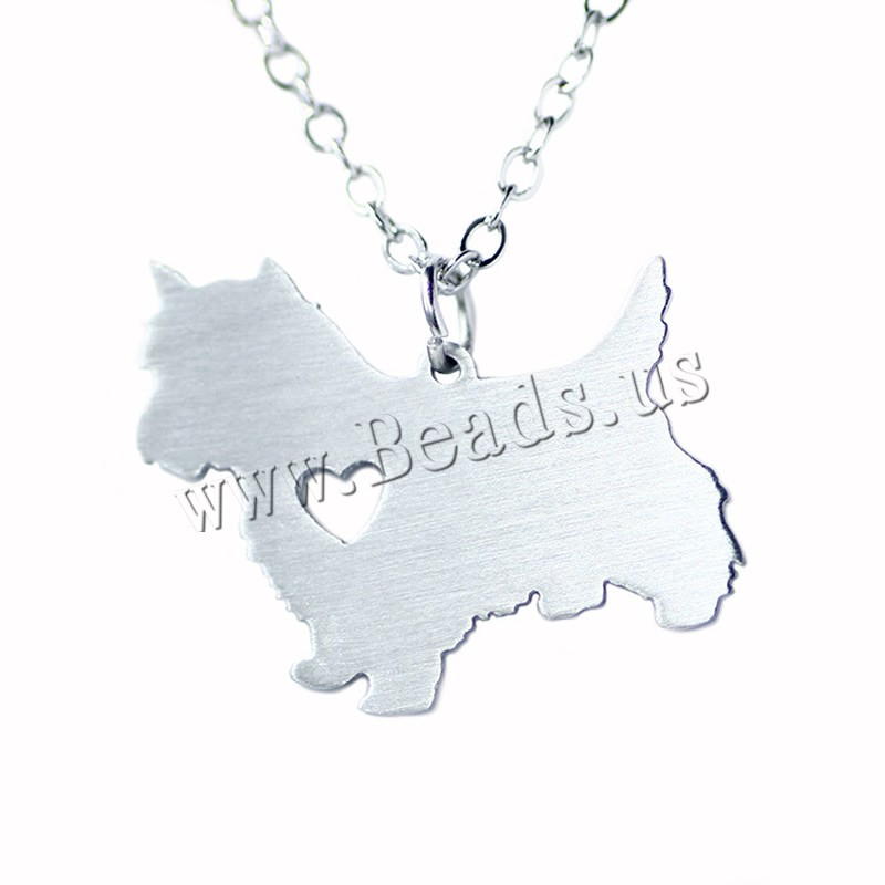 Buy Stainless Steel Jewelry Necklace 5cm extender chain Dog oval chain original color 27x21mm Sold Per Approx 20.5 Inch Strand