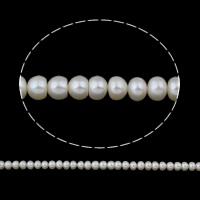 Lagerluft Süßwasser Perlen, Natürliche kultivierte Süßwasserperlen, Barock, natürlich, weiß, 6-7mm, Bohrung:ca. 0.8mm, verkauft per ca. 14.5 ZollInch Strang