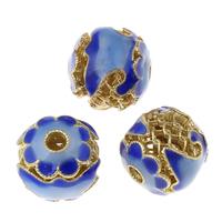 Imitation Cloisonne Zink Legierung Perlen, Zinklegierung, Trommel, goldfarben plattiert, Emaille, frei von Blei & Kadmium, 12mm, Bohrung:ca. 2mm, verkauft von PC
