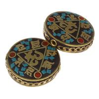 Buddhistische Perlen, Zinklegierung, mit Indonesien, flache Runde, antike Bronzefarbe plattiert, om mani padme hum, frei von Blei & Kadmium, 29x8mm, Bohrung:ca. 1.5mm, verkauft von PC
