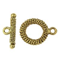 Zinklegierung Knebelverschluss, antike Goldfarbe plattiert, frei von Blei & Kadmium, 16x21x2mm, 21x8x2mm, Bohrung:ca. 1.5mm, 20SetsSatz/Tasche, verkauft von Tasche