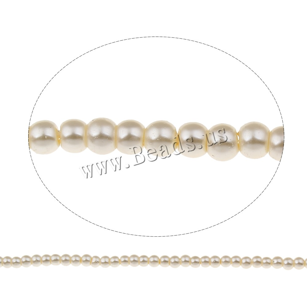 Buy Glass Pearl Beads Round white 4mm Hole:Approx 1mm Approx 200PCs/Strand Sold Per Approx 32.2 Inch Strand