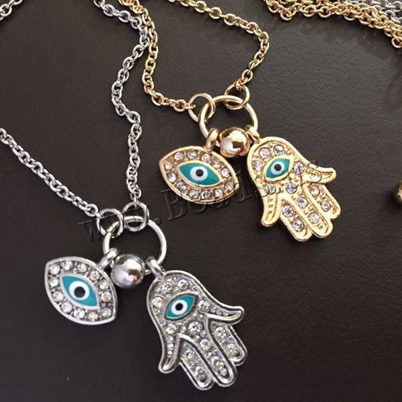 Buy Evil Eye Jewelry Necklace Zinc Alloy brass chain brass lobster clasp 7cm extender chain Evil Eye Hamsa plated oval chain & enamel & rhinestone colors choice lead & cadmium free 45cm Sold Per Approx 17.5 Inch Strand