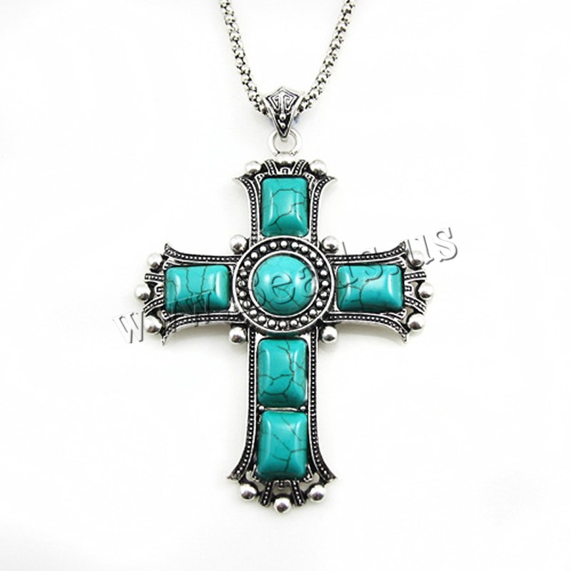 Fashion Turquoise Necklace Zinc Alloy iron chain 5cm extender chain Cross antique silver color plated lantern chain & woman lead & cadmium free 65x85mm Sold Per Approx 17.5 Inch Strand