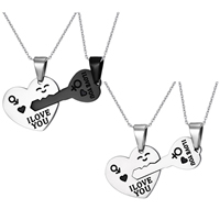 Edelstahl Puzzel Doppel Anhänger, Wort ich liebe dich, plattiert, Emaille, keine, 21mm,31.3mm, Bohrung:ca. 3x5mm, 2PCs/setzen, verkauft von setzen