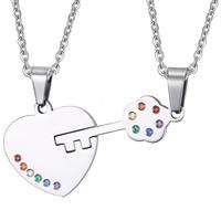 Edelstahl Puzzle Paar Halskette, Oval-Kette & mit Strass, originale Farbe, Länge:ca. 20 ZollInch, 2SträngeStrang/setzen, verkauft von setzen