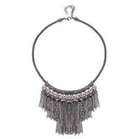 Mode-Fringe-Halskette, Zinklegierung, mit Verlängerungskettchen von 5cm, antik silberfarben plattiert, Laterne Kette & mit Strass, frei von Blei & Kadmium, 75x95mm, verkauft per ca. 18.5 ZollInch Strang