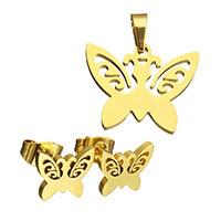 Edelstahl Schmucksets, Anhänger & Ohrring, Schmetterling, goldfarben plattiert, hohl, 20x14x1.5mm, 10x7x12.5mm, Bohrung:ca. 3x5mm, verkauft von setzen