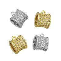 Messing Stiftöse Perlen, Trommel, plattiert, Micro pave Zirkonia, keine, 7.50x10x8.50mm, Bohrung:ca. 1mm, 5mm, 20PCs/Menge, verkauft von Menge
