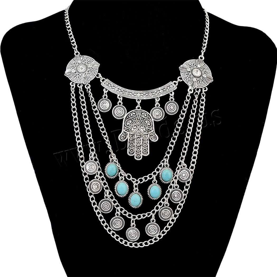 Buy Fashion Turquoise Necklace Zinc Alloy 1.9lnch extender chain antique silver color plated twist oval chain & woman nickel lead & cadmium free 170mm Sold Per Approx 16.9 Inch Strand