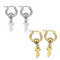 Edelstahl-Hebel zurück-Ohrring, Edelstahl, Schlüssel, plattiert, für Frau, keine, 18x15.50x2mm, Innendurchmesser:ca. 10mm, verkauft von Paar