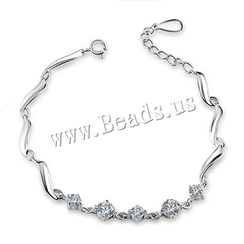 Buy Cubic Zirconia Bracelet Brass 3.6cm extender chain real silver plated 925 logo & woman & cubic zirconia lead & cadmium free 165cm Sold Per Approx 6 Inch Strand