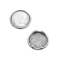 Zinklegierung Perlen Einstellung, flache Runde, Doppelloch & Schwärzen, 17.50x17.50x4mm, Bohrung:ca. 1mm, Innendurchmesser:ca. 15mm, 500PCs/Menge, verkauft von Menge
