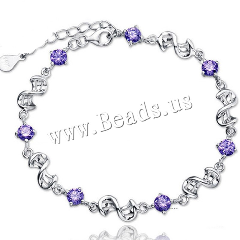 Buy Cubic Zirconia Bracelet Brass 3.6cm extender chain real silver plated 925 logo & woman & cubic zirconia colors choice lead & cadmium free Sold Per Approx 3.34 Inch Strand