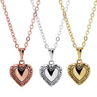 Mode Medaillon Halskette, Messing, Herz, plattiert, mit Foto-Medaillon & Oval-Kette & für Frau & Schwärzen, keine, frei von Nickel, Blei & Kadmium, 11x10mm, verkauft per ca. 15.7 ZollInch Strang