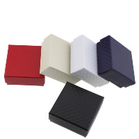 Karton Schmuckset Kasten, Fingerring & Ohrring & Halskette, mit Schwamm, Quadrat, plattiert, keine, 73x73x35mm, 100PCs/Menge, verkauft von Menge