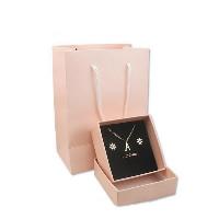 Karton Schmuckset Kasten, presentpåse & Fingerring & Ohrring & Halskette, mit Schwamm, Quadrat, Rosa, 115x155x70mm, 50SetsSatz/Menge, verkauft von Menge