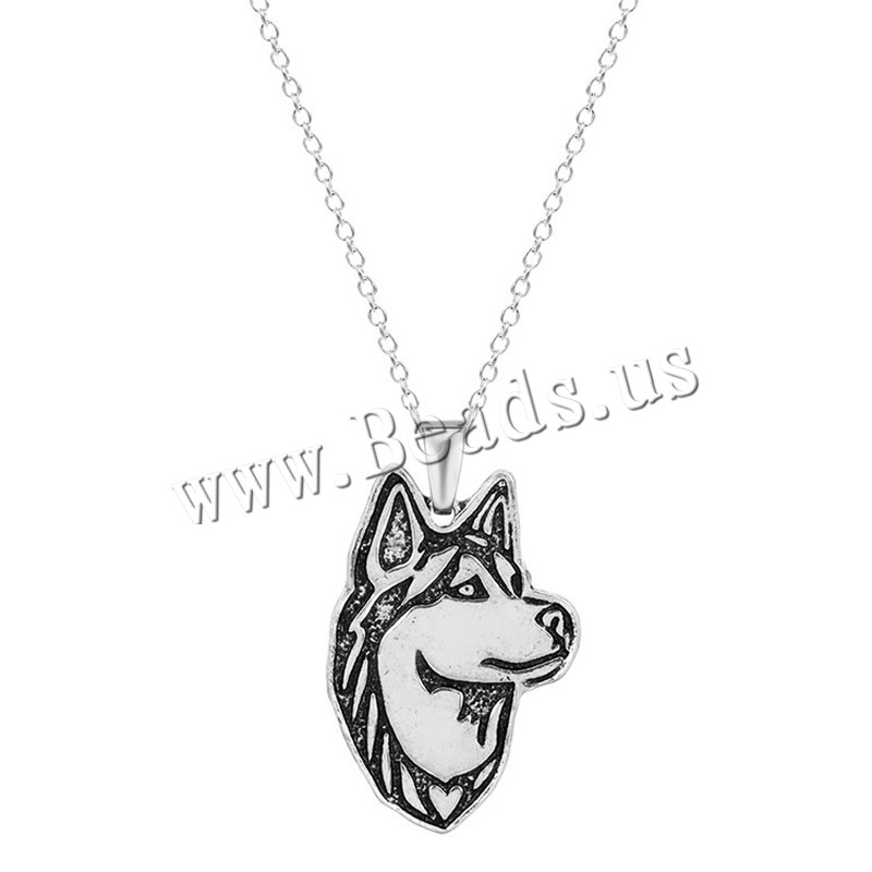 Buy Unisex Necklace Zinc Alloy iron chain Dog antique silver color plated oval chain lead & cadmium free 45cm Sold Per Approx 17.5 Inch Strand