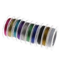 Stahldraht, mit Kunststoffspule, Elektrophorese, gemischte Farben, 0.38mm, 10Spulen/Tasche, verkauft von Tasche