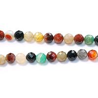 Achat Perlen, rund, natürlich, verschiedene Größen vorhanden & facettierte, farbenfroh, Bohrung:ca. 1-1.5mm, verkauft per ca. 15 ZollInch Strang