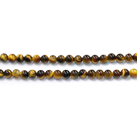 Tigerauge Perlen, rund, natürlich, verschiedene Größen vorhanden, Grade A, Bohrung:ca. 0.2-1.5mm, Länge:ca. 15.5 ZollInch, verkauft von Menge