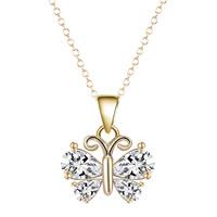 Messing Halskette, Schmetterling, vergoldet, Oval-Kette & für Frau & mit kubischem Zirkonia, frei von Blei & Kadmium, 40cm, verkauft per ca. 15.5 ZollInch Strang