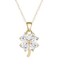Messing Halskette, vierblättriges Kleeblatt, vergoldet, Oval-Kette & für Frau & mit kubischem Zirkonia, frei von Blei & Kadmium, 40cm, verkauft per ca. 15.5 ZollInch Strang