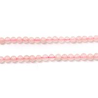 Natürliche Rosenquarz Perlen, rund, verschiedene Größen vorhanden, Bohrung:ca. 0.1-1mm, Länge:ca. 14 ZollInch, verkauft von Menge