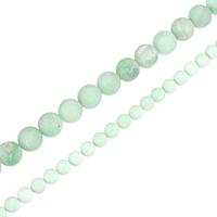 Amazonit Perlen, rund, natürlich, verschiedene Größen vorhanden & satiniert, Grade A, Bohrung:ca. 0.5-1.5mm, verkauft per ca. 15.5 ZollInch Strang