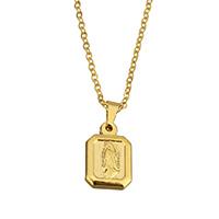 Edelstahl Schmuck Halskette, Charakter, goldfarben plattiert, Oval-Kette & für Frau, 9.5x14.5x3mm, 1.5x2x0.3mm, verkauft per ca. 18 ZollInch Strang