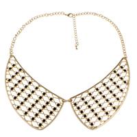 Kragen Halskette, Zinklegierung, mit Emaille & Eisen, Zinklegierung Karabinerverschluss, goldfarben plattiert, frei von Nickel, Blei & Kadmium, 106x44x3mm, verkauft per 25 ZollInch Strang
