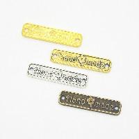 Zinklegierung Schmuckverbinder Stange, Rechteck, Made Hand, plattiert, 1/1-Schleife, keine, frei von Nickel, Blei & Kadmium, 25x6mm, Bohrung:ca. 1.5mm, 100PCs/Menge, verkauft von Menge