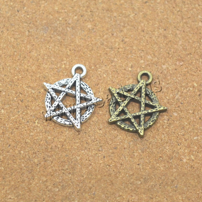 Buy Zinc Alloy Star Pendant pentagram plated colors choice nickel lead & cadmium free 18x19x2mm Hole:Approx 1.5mm 5 Sold Lot