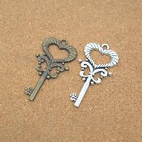 Zinklegierung Schlüssel Anhänger, plattiert, keine, frei von Nickel, Blei & Kadmium, 20x40x2mm, Bohrung:ca. 1.5mm, 50PCs/Menge, verkauft von Menge