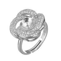 925 Sterling Silber Ringfassung, Blume, Micro pave Zirkonia, 18x17x5mm, 0.6mm, Innendurchmesser:ca. 17mm, Größe:6.5, 3PCs/Menge, verkauft von Menge