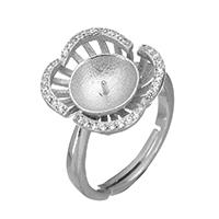 925 Sterling Silber Ringfassung, Blume, Micro pave Zirkonia, 14x15x5mm, 0.7mm, Größe:6.5, 3PCs/Menge, verkauft von Menge