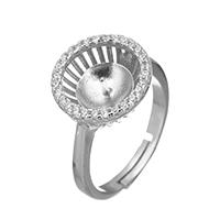 925 Sterling Silber Ringfassung, Micro pave Zirkonia, 13x13x5.5mm, 0.8mm, Größe:6, 3PCs/Menge, verkauft von Menge