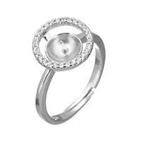 925 Sterling Silber Ringfassung, Micro pave Zirkonia, 12x11x4.5mm, 0.7mm, Größe:6.5, 5PCs/Menge, verkauft von Menge