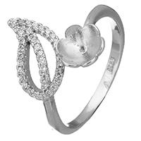 925 Sterling Silber Ringfassung, Blatt, Micro pave Zirkonia, 16mm, 0.7mm, Größe:7.5, 5PCs/Menge, verkauft von Menge
