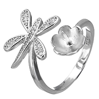 925 Sterling Silber Ringfassung, Libelle, offen & Micro pave Zirkonia, 20mm, 0.8mm, Größe:6.5, 5PCs/Menge, verkauft von Menge