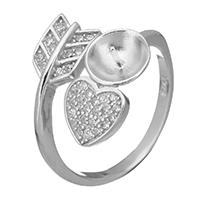925 Sterling Silber Ringfassung, Herz, offen & Micro pave Zirkonia, 13.5mm, 0.7mm, Größe:6, 3PCs/Menge, verkauft von Menge